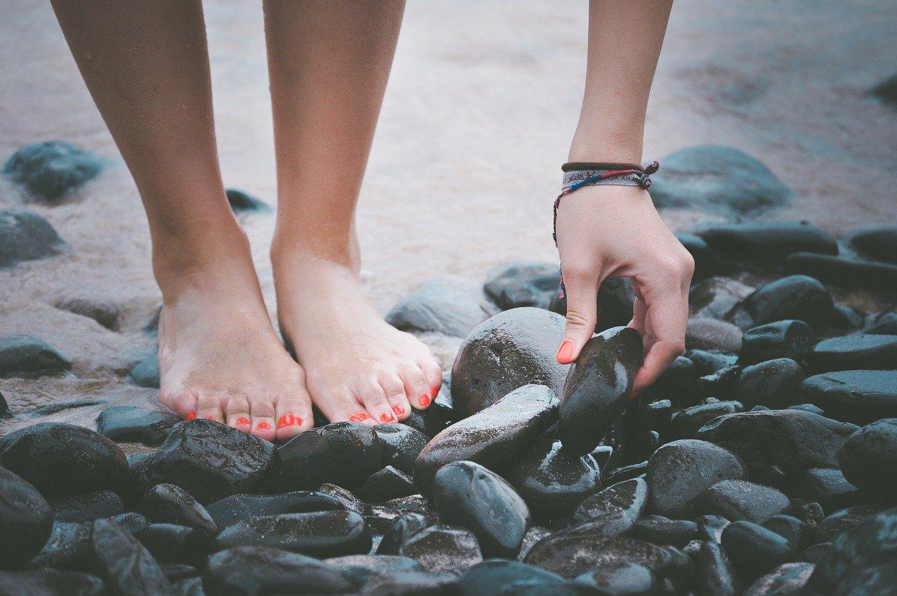 beach, feet, hand